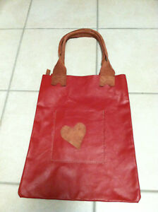 Upstream Rockport Maine Red Soft Leather HandBag w Heart
