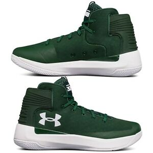 Men's Under Armour Curry 3 Zero Basketball Shoes Mid Top Green White Sneakers