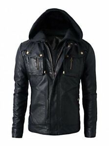 New Men's Brando Biker Real Leather Jacket with Hoodie