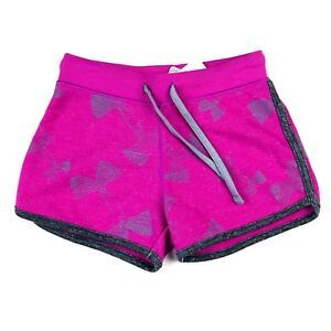 Under Armour Girls Shorts Sz XS Pink Jersey Knit Elastic Waist Bows Graphic