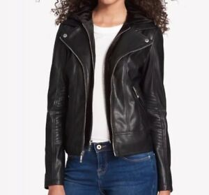 TOMMY HILFIGER WOMEN FAUX LEATHER JACKET WITH VELVET HOOD  DETACHABLE HOODIE 🔥