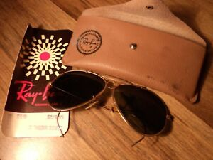 Vintage 1970 Ray Ban bullet hole Aviator Sunglasses wcase & card  For Repair