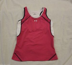 Girls Youth Under Armour Pink Running Gym Sports Soccer Tank Top Shirt Large