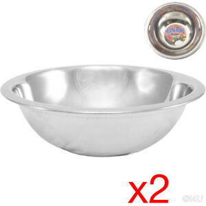 2 X MIXING BOWL STAINLESS STEEL STIR SALAD BOWLS VEGETABLES COOKING KITCHEN 16CM