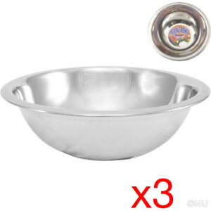 3 X MIXING BOWL STAINLESS STEEL STIR SALAD BOWLS VEGETABLES COOKING KITCHEN 16CM