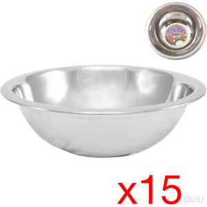 15 X MIXING BOWL STAINLESS STEEL STIR SALAD BOWLS VEGETABLES COOKING KITCHEN