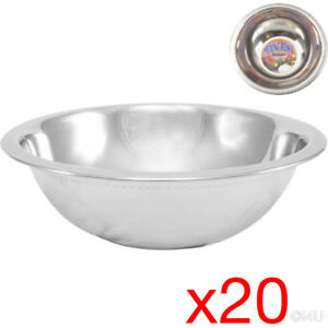 20 X MIXING BOWL STAINLESS STEEL STIR SALAD BOWLS VEGETABLES COOKING KITCHEN