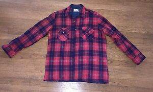 Bruce Jenner Sports Wear Shirt Vintage Medium Red Plaid Flannel Quilted Lined