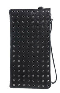 New $125 Old Trend Calla Black Leather Eyelet Design Women's ClutchWristlet