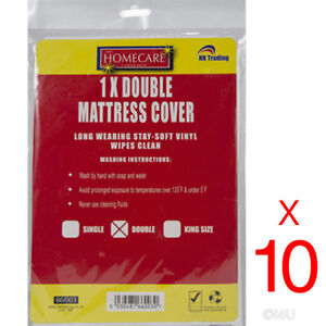 10 X DOUBLE FITTED MATTRESS PROTECTOR SHEET WATERPROOF VINYL BED WETTING