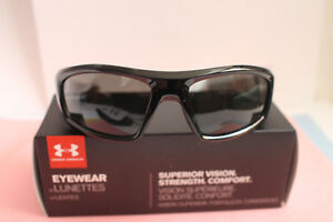 Authentic Men's Sunglasses Under Armour UA Power Polarized Gray Lens Blk frame