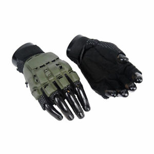 New Half Finger Plastic OD Green Airsoft Gloves PaintBall XS S $9.90
