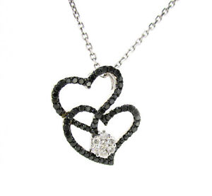 White & Black Diamond Heart Necklace in 14KT White Gold 0.40 ctw