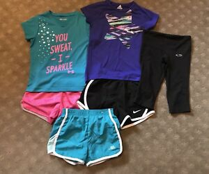 Lot of 6 Nike Adidas Under Armour Girls Active Wear Shorts Shirts Capris XS 4