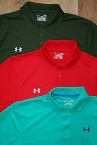 LOT 3 THREE Under Armour Men SS Polo Shirt Red-Green-Green Blue-Large-Loose-EUC