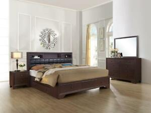 Dark Walnut Finish Storage Queen Size Bedroom Set 5Pcs NOMA Global USA