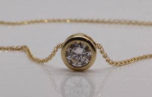 1ct MOISSANITE ROUND  PENDANT NECKLACE BEZEL SET WITH CHAIN  14K YELLOW GOLD