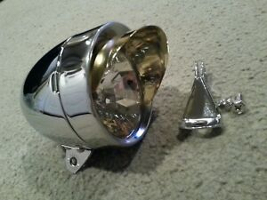 NEW  CHROME BULLET BICYCLE HEADLIGHT WITH GOLD VISOROLD SCHOOL VINTAGE LOOK