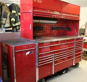 Snap-On Winston Select Candy Apple Red Metal Mechanic Tool Chest Cart Work Bench
