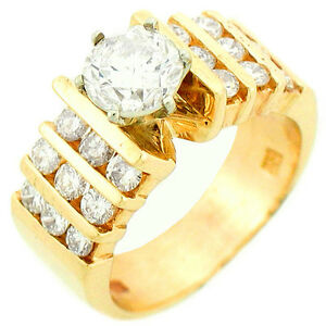2.19Ctw Round Solitaire Diamond w Accent Ladies Engagement Ring 14K Yellow Gold