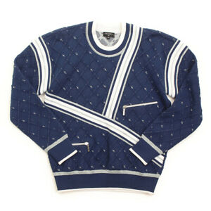AUTHENTIC CHANEL AIRLINE KNIT PULLOVER TOP P54068 BLUE SILVER GRADE S USED -AT