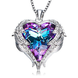 MOTHERS DAY GIFT Angel Wings Pendant Necklace Heart Swarovski Crystals Jewelry
