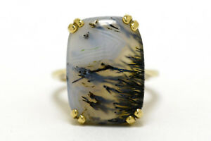 Vintage Dendritic Agate Moss Yellow Gold Cocktail Ring Statement Jewelry Estate