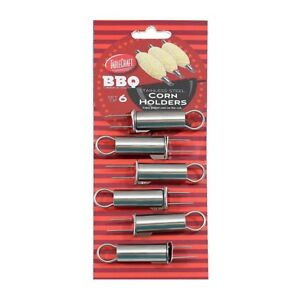 TableCraft BBQ Series Stainless Steel Corn Cob Holders - Set of 6