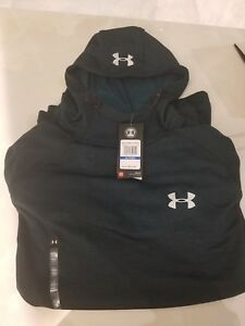 New Under Armour Mens Tech Terry Fitted Hoodie Arden GreenSilver Size XL