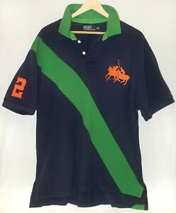 Vtg 1990s Big Pony Rugby Shirt RALPH LAUREN POLO XXL sport spellout green stripe