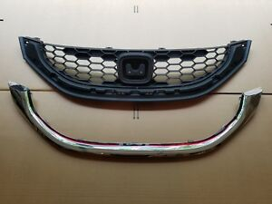 fits 2013-2015 CIVIC 4dr SEDAN 1.8L Front Bumper Grille & Chrome Molding SET 2PC