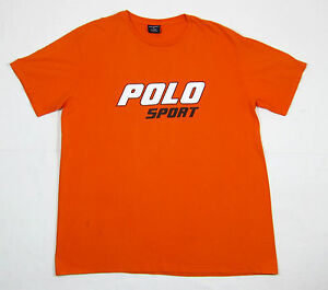 VTG 90S POLO SPORT RALPH LAUREN SPELLOUT LOGO T SHIRT L NYC CYCLE FLAG USA OG 92