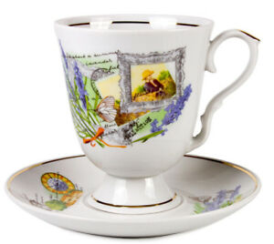 Porcelain Mug and Saucer Set with French Lavender Pattern, Made by Dulevo Russia
