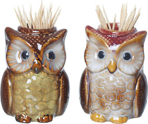 Ceramic Owl Toothpick Holders Brown Owls Assorted Appetizer Picks  Set of 2
