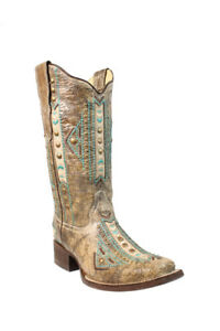 Women's Corral Boots Aztec Turquoise Embroidered Boot Style E1155 FREE SHIPPING