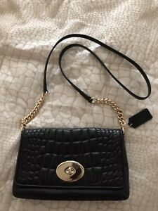 Coach Black Leather Quinn Crossbody Shoulder Bag Purse Chain Strap