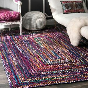 nuLOOM Hand Made Bohemian Braided Cotton Area Rug in Blue Purple Multi Chindi