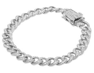 Men's 10K White Gold Real Diamond Miami Cuban Link Bracelet 4 CT 11MM 8