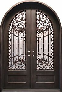 Stunning Hand-Crafted 12-Gauge Wrought Iron Entry Doors 72