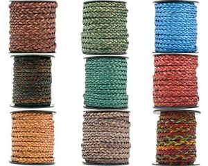 Xsotica® Flat Braided Leather Cord 5mm 1 Yard $1.75