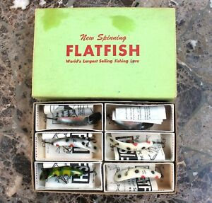 NOS Vintage Helin FLATFISH Tackle X4 Fishing Lures Full Dealer Box Variety MIB
