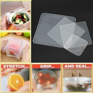 Food Seal Cover Lid Stretchable 4Pcs/Lot Fresh Reusable Silicone Saran Wrap Kit