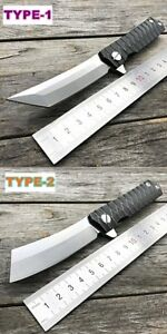 Tanto Folding Pocket Knife Stainless Blade Steel Handle Tactical Knives Camping