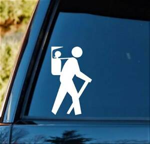 Hiker Guy w/ Daughter in Backpack Carrier Decal Sticker H1133 Camper Camping