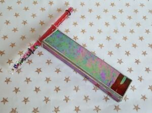 Art Glass Kaleidoscope w Liquid Wand Stained Glass 6.5in L  1.5in W  6.25in Wand