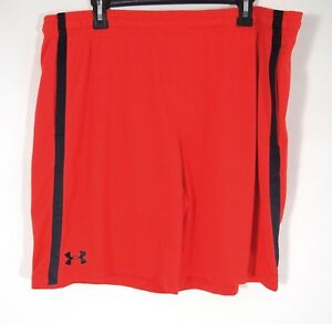 Under Armour Mens Basketball Shorts 2XL Workout Athletic Red Heat Gear Loose