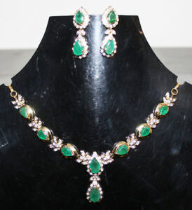 3.15ct DIAMOND EMERALD 14k YELLOW GOLD WEDDING NECKLACE WITH EARRINGS