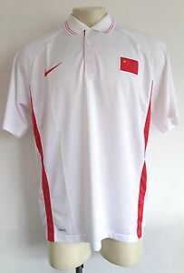 NIKE H7 Mens China Flag Olympic National White Fit Dry Golf Polo Shirt Size 3XL