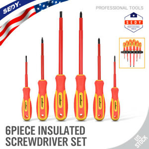 Insulated Slotted amp; Phillips Electricians Screwdrivers Set Magnetic Tool 6 Piece $12.79