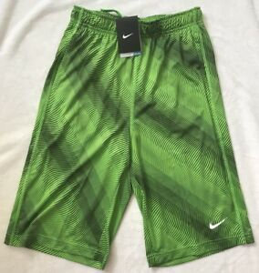 NWT! Nike Boys Dry-Fit Fly Printed Basketball Shorts Action Green Black M XL